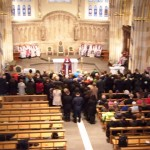 The Catechumens await their turn to sign