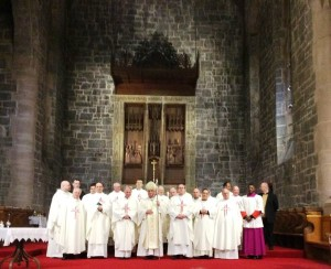 Bishop Toal with the priests of the Diocese