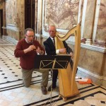 Instrumentalists John & Noel greet the congregation