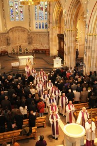 Congregation and clergy at the service