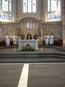 The ARchbishop and clergy at the Mass