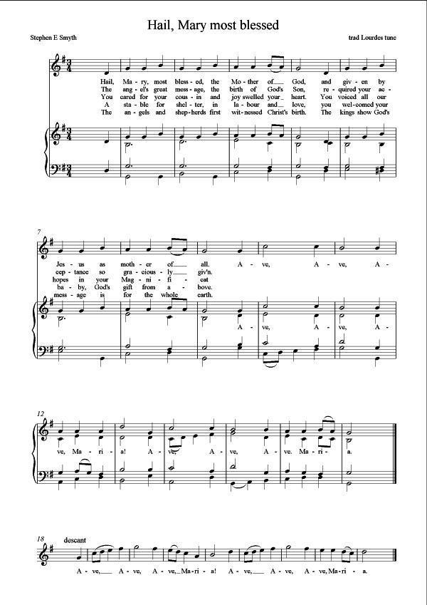 image about Printable Hymns Sheet Music referred to as Our Woman: A clean Lourdes hymn St Mungo Songs