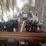 A bird's eye view of the packed congregation